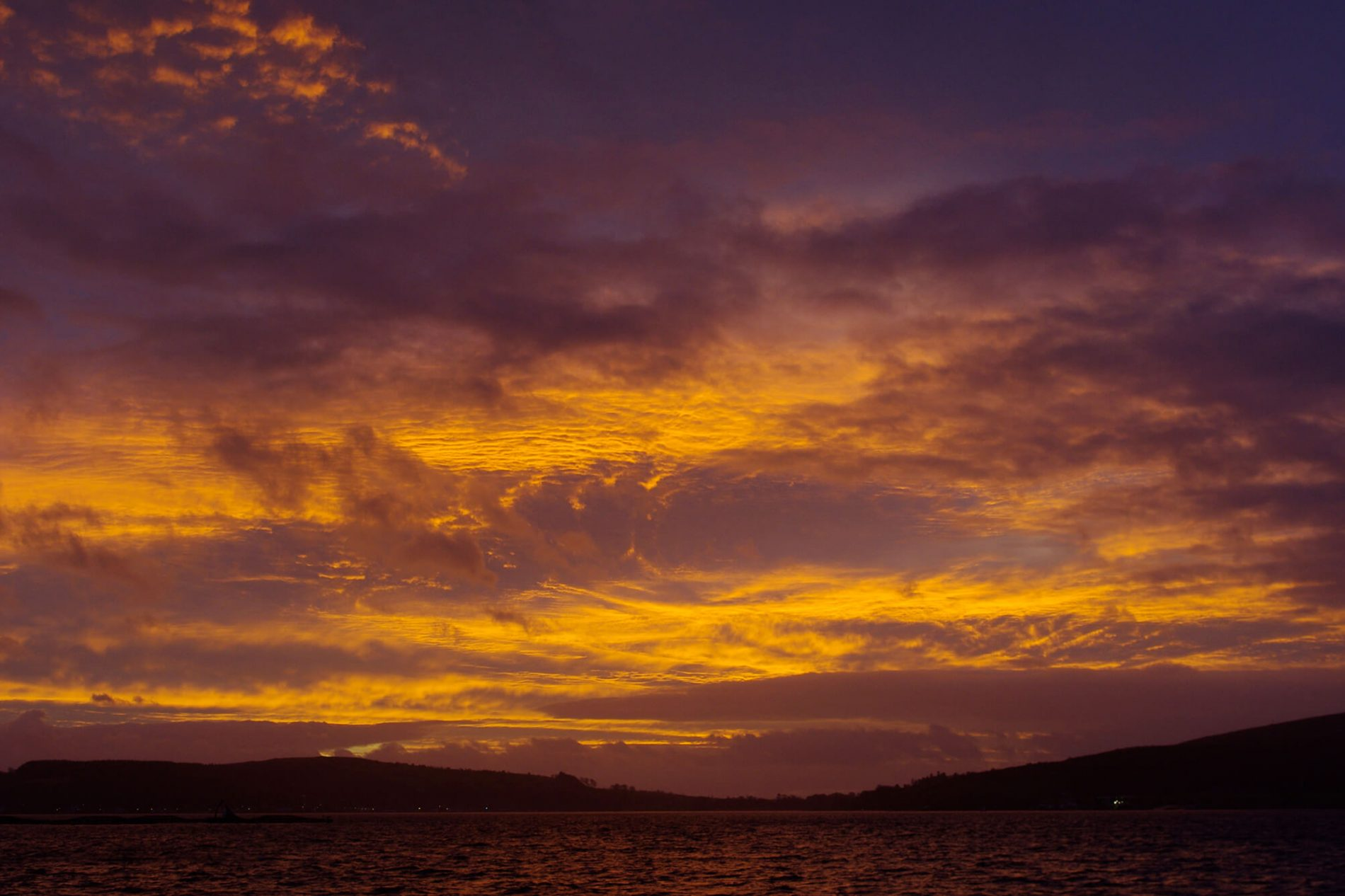 View of a sunset over the loch at Jane Kelly's Studio
